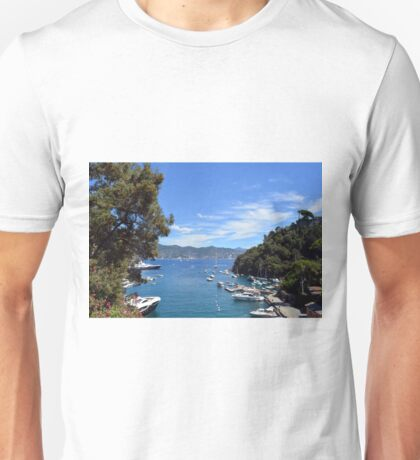 6 August 2016 Natural scenery with sea and yachts from Portofino vacation resort, an Italian fishing village, Genoa province, Italy. Unisex T-Shirt
