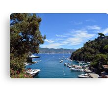 6 August 2016 Natural scenery with sea and yachts from Portofino vacation resort, an Italian fishing village, Genoa province, Italy. Canvas Print