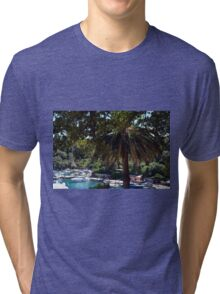 6 August 2016 Natural scenery with sea and yachts from Portofino vacation resort, an Italian fishing village, Genoa province, Italy. Tri-blend T-Shirt