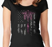 NURSES DAY T-SHIRT: NURSE WITH AMERICAN FLAG Women's Fitted Scoop T-Shirt