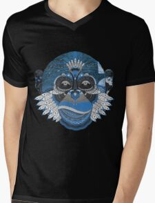 Colorful Monkey Mens V-Neck T-Shirt