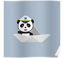Captain Panda with paper boat Poster