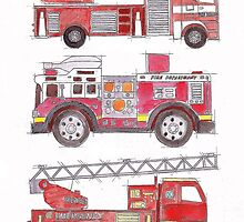 Three fire engines by Vicky Pratt