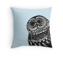 Night owl - Light blue version Throw Pillow