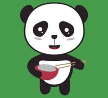 Cute Panda with rice bowl One Piece - Short Sleeve