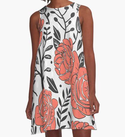 Orange Garden A-Line Dress
