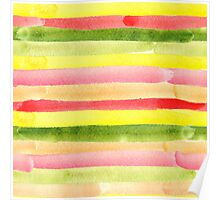 Watercolor colorful stripes seamless background. Poster