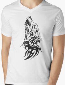 Tribal Wolf Howling Mens V-Neck T-Shirt