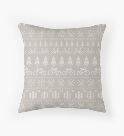 Christmas Cycling Jumper | Hessian/Mint Throw Pillow