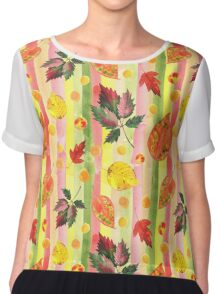 Watercolor colorful autumn leaves and stripes seamless background. Chiffon Top