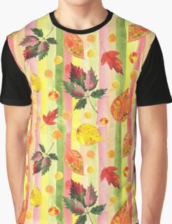 Watercolor colorful autumn leaves and stripes seamless background. Graphic T-Shirt