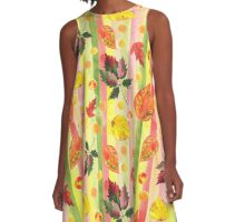 Watercolor colorful autumn leaves and stripes seamless background. A-Line Dress