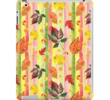 Watercolor colorful autumn leaves and stripes seamless background. iPad Case/Skin