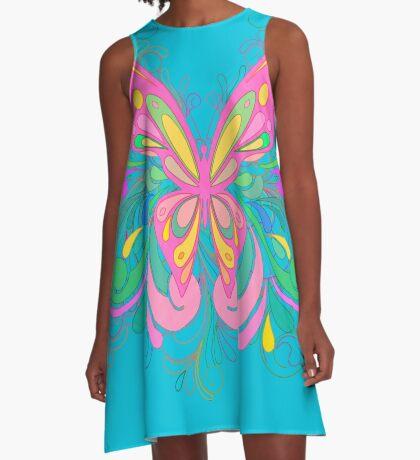 Bright Pink Ornate Butterfly Art A-Line Dress