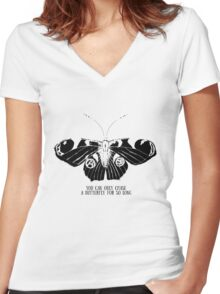 Butterfly; sketch; freehand drawing Women's Fitted V-Neck T-Shirt