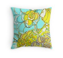 Yellow Winged Flower Fairy  Throw Pillow