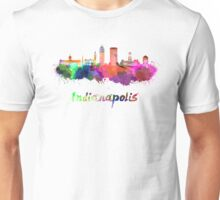 Indianapolis skyline in watercolor Unisex T-Shirt