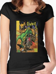 """Space Chick & Nympho: Vampire Warrior Party Girl Comix #1-  Comic Page """"Dino Fight"""" Women's Fitted Scoop T-Shirt"""