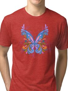 Colorful Artistic Blue Butterfly Art Tri-blend T-Shirt