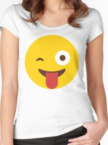 Funny Emoticon // Funny Whatsup Emojoy Women's Fitted Scoop T-Shirt