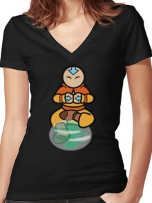 Avatar the legend of aang - air bending  Women's Fitted V-Neck T-Shirt