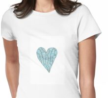 Blue Wobbly Heart Womens Fitted T-Shirt