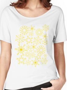 Gray and yellow snowflakes Women's Relaxed Fit T-Shirt