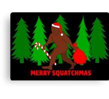 Merry Squatchmas Funny Christmas Bigfoot Santa Canvas Print