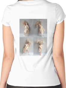 Barbie Dolls. Miniature Art. Fashion Illustration. Collage® Women's Fitted Scoop T-Shirt