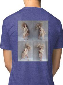 Barbie Dolls. Miniature Art. Fashion Illustration. Collage® Tri-blend T-Shirt