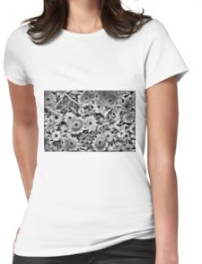 Flower Black and White Womens Fitted T-Shirt