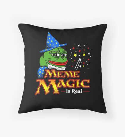 Meme Magic Is Real Pepe The Frog Wizard Throw Pillow