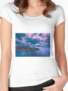 Blurry clouds at Cala d'Enmig Women's Fitted Scoop T-Shirt