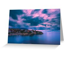 Blurry clouds at Cala d'Enmig Greeting Card
