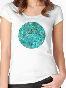 Marble Turquoise Blue Gold Women's Fitted Scoop T-Shirt