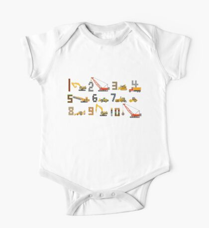Construction Vehicles Counting - The Kids' Picture Show One Piece - Short Sleeve
