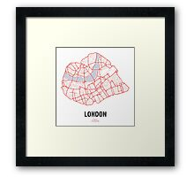 London Heart – hand drawn map of central London Framed Print