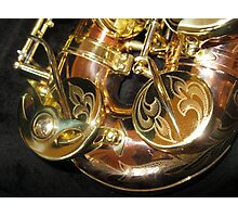 Engravings on Monarch Windsor Saxophone Photographic Print