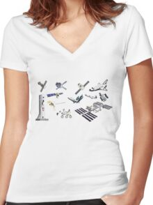 Spacecraft - Space Vehicles - The Kids' Picture Show - 8-Bit Women's Fitted V-Neck T-Shirt