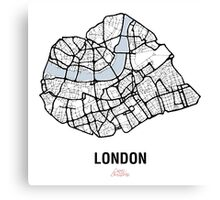 London Heart – hand drawn map of central London (black) Canvas Print