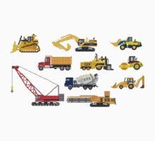 Construction Vehicles - The Kids' Picture Show - 8-Bit One Piece - Short Sleeve