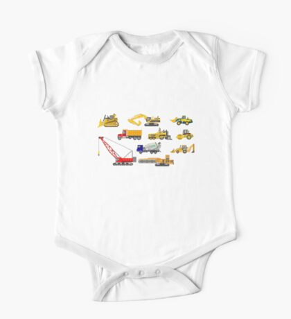 Construction Vehicles - The Kids' Picture Show - 8-Bit One Piece - Short Sleeve