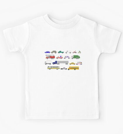 Street Vehicles - The Kids' Picture Show - 8-bit Kids Tee