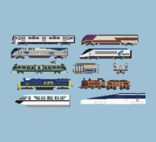 Railway Vehicles - The Kids' Picture Show - 8-Bit Trains Kids Tee