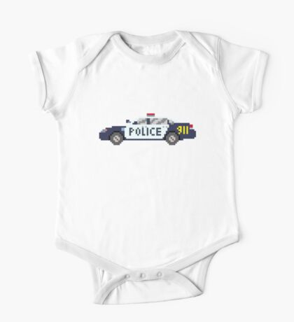 Police Car - The Kids' Picture Show - 8-Bit One Piece - Short Sleeve