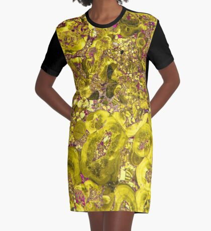 Marble Solar Gold Violet Orbit Graphic T-Shirt Dress