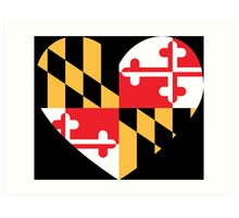 maryland flag heart Art Print