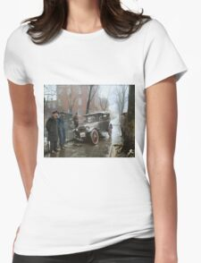 Auto Wreck in Washington DC, 1921. Colorized Womens Fitted T-Shirt