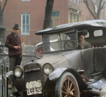 Auto Wreck in Washington DC, 1921. Colorized Sticker