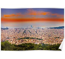 Barcelona at Sunset, Spain Poster